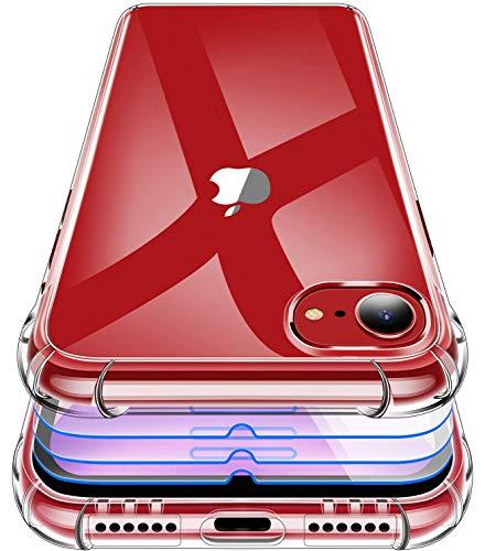 Garegce Cover Compatibile con iPhone SE, iPhone 8, iPhone 7 con 3 Pezzi Vetro Temperato, Silicone Antiurto, Morbido TPU Protettiva Custodia, 4.7 Pollici, Trasparente