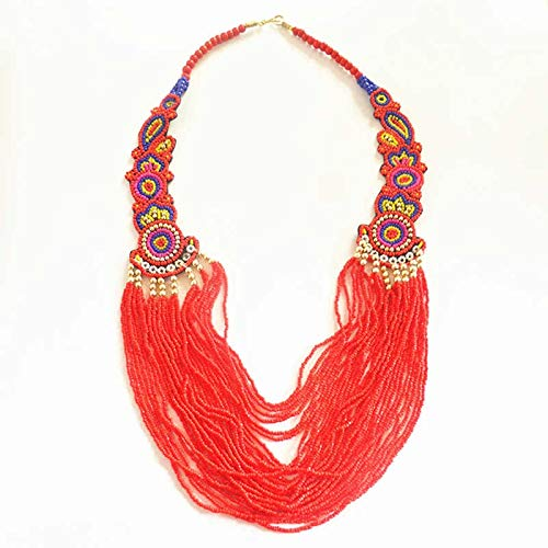 Tibetan Jewelry Red Multi-layers Necklace Fashion Bohemian Fashion Necklaces Tibet Nepal Tribal Jewelry