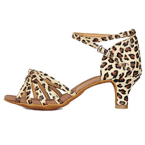 YKXLM Mujeres&Niña Zapatos Latinos de Baile Zapatillas de Baile de Salón Salsa Performance Calzado de Danza,ES217-5,Leopardo Color,EU 39