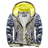 GDJGTA Men's Pullover Workout Fleece Hoodie Jackets Winter Full Zip Wool Warm Thick Coats Hooded Jacket Sweatshirt Outwear Dark Gray