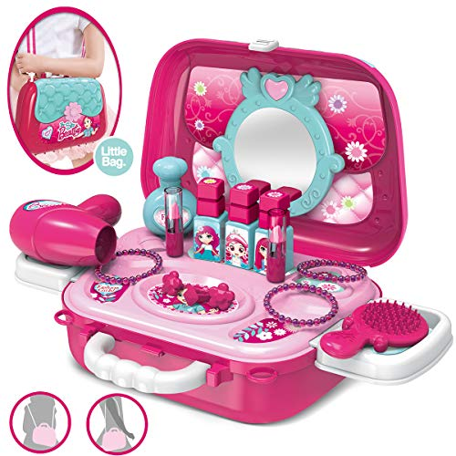 Role Play Jewelry Kit for Girls Toy Set 2 in 1 Princess Bag Gift for Girls Kids 3 Years Old