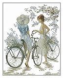 XIAOFANG Zwei Mädchen mit Zwei Fahrrädern Stickerei Top Qualität Handwerk Handarbeit 1 4CT. Unbedruckte Kreuzstich-Kits DIY. Kunsthandgemachte Wohnkultur (Cross Stitch Fabric CT Number : 14CT)
