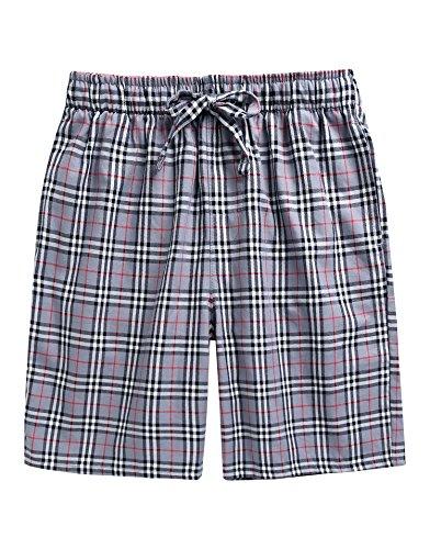 TINFL Men's Plaid Check Cotton Lounge Sleep Shorts MSP-SB001-Grey XXL