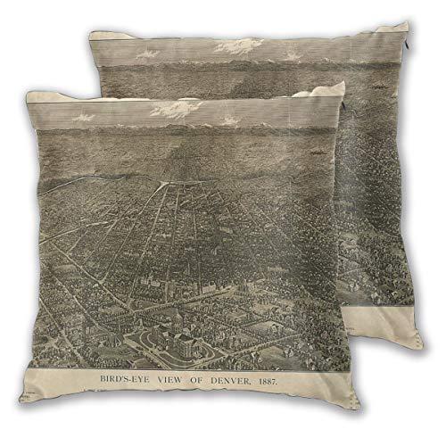 Nonebrand - Copricuscino decorativo con mappa di Denver, per divano, letto, sedia, 45,7 x 45,7 cm, set di 2