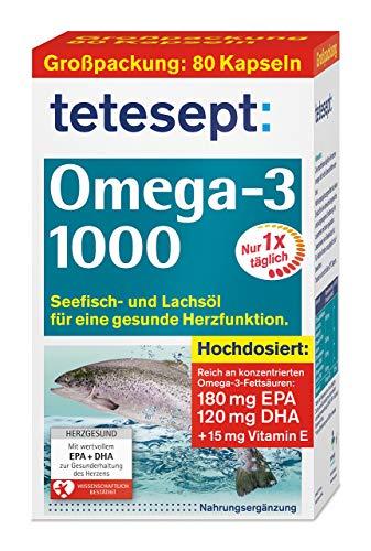tetesept Omega-3 1000 - Seefisch- und Lachsöl Kapseln, 80 Stück