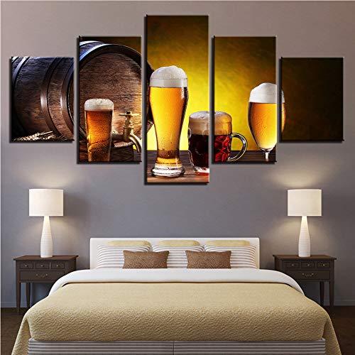 Meaosy Leinwand Hd Drucke Bilder Wohnzimmer 5 Stücke Bier Und Weinglas Eichenfässern Gemälde Wandkunst Küche Poster Dekor -30X40/60/80Cm