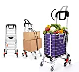 Aluminum Shopping Carts Heavy Duty Foldable Shopping Carts for Groceries Collapsible Rolling Cart with Swivel Wheels Grocery Cart with Wheels for Laundry Utility Stair Climber Cart with Canvas Bags