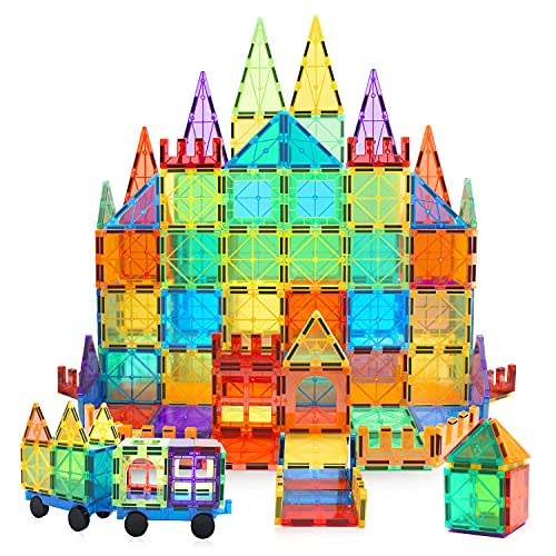 MagHub Magnet Toys Magnetic Tiles, 85 PCS Magnetic Building Blocks Set Learning Educational Toys for Boys Girls Preschool Educational Construction Kit Magnet Stacking Toys for Kids Toddlers Children
