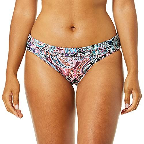 La Blanca Women's Shirred Band Hipster Bikini Swimsuit Bottom, Swirlin Around, 10