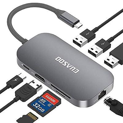 EUASOO USB C Hub 9 Port Aluminium USB C Adapter with 4K HDMI, 2 USB 3.0 Ports, 1 USB 2.0 Port, Type C PD, Gigablit Ethernet RJ45, SD/TF Card Reader for MacBook Air/Pro, Chromebook, More Type C Devices