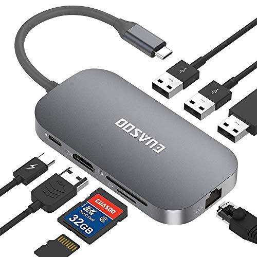 EUASOO HUB USB C 9 Puertos Hub Tipo-C con conexión Ethernet, HDMI, Puerto de Carga Tipo C, 2 Puertos USB 3.0, 1 Puerto USB 2.0, Lector de Tarjetas SD/TF para Mac Pro y Otros portátiles de Tipo C