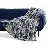 Bedsure Faux Fur Blankets Twin Size Grey - Tie-dye Fuzzy Fluffy Super Soft Furry Plush Decorative Comfy Shag Thick Sherpa Shaggy Twin Blankets for Bed, Sofa, Couch, 60x80 inches
