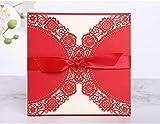 Wohlstand 8pcs hueco decorativo invitación felicitación tarjeta con sobre de encaje,Tarjetas de invitación de boda Set,cortadas con láser,para bodas cumpleaños compromiso fiesta blanco