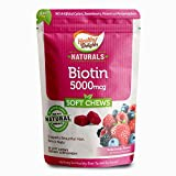 Healthy Delights Naturals, Biotin Soft Chews, Support and Nourishment for Lustrous Hair, Glowing skin, Strong nails, With 5,000 mcg of Biotin, Delicious Wild Berry Flavor, 30 Count
