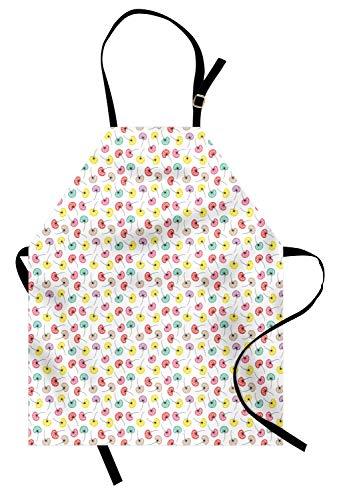 ABAKUHAUS Paardebloem Keukenschort, Kleurrijke Bloemen Zaden, Unisex Keukenschort met Verstelbare Nekband voor Koken en Tuinieren, Wit en Multicolor
