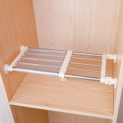 Hershii Closet Tension Shelf & Rod Expandable Metal Storage Rack Adjustable Organizer DIY Divider Separator for Cabinet Wardrobe Cupboard Kitchen Bathroom