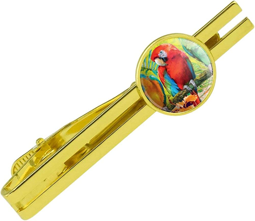 GRAPHICS & MORE Colorful Tropical Rainforest Parrots Round Tie Bar Clip Clasp Tack Gold Color Plated