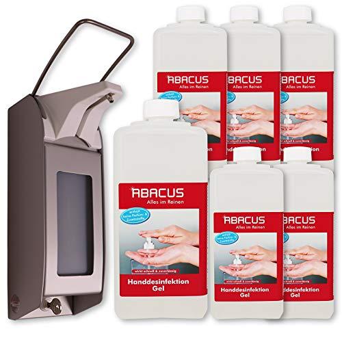ABACUS 6x 1000 ml Handdesinfektion Gel + Seifenspender OPHARDT Hygiene ingo-man Plusmit Wandhalterung Spender für Desinfektionsmittel (7618)