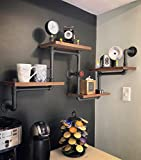 Industrial Rustic Modern Wood Ladder Pipe Wall Shelf 4 Layer Pipe Design Bookshelf DIY Shelving