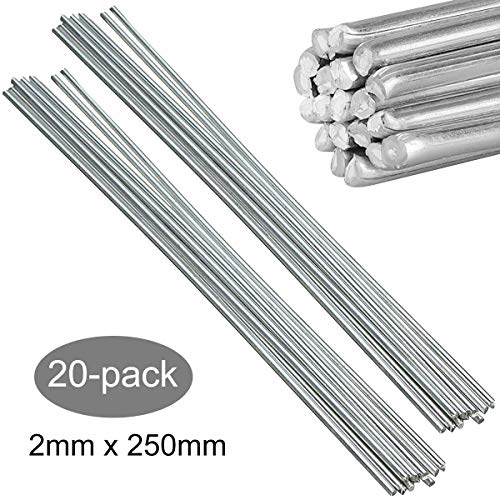 Aluminum Welding Rods, Linkhood 20-Pack Universal Low Temperature Aluminum Welding Cored Wire for Electric Power, Chemistry, Food, Silver 0.08inx10in