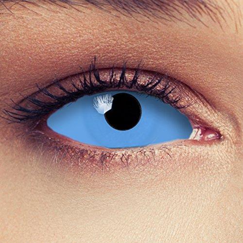 '22mm Full Sclera Kontaktlinsen Farbe Blau Völlig ohne Stärke für Halloween Hexe Kostüm + gratis Behälter–BLUE Witch