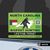 North Carolina Bigfoot Hunting Permit ノースキャロライナ州 ビッグフット ハンティングパーミット 狩猟許可 防水 車用 スーツケース用 Sasquatch Lifetime