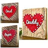 Sweet & small Dad, Papa OR Daddy string art heart sign. Great gift for Valentine's Day. I love you Dad, by Nail it Art. #1 Dad. Great gift from the kids.