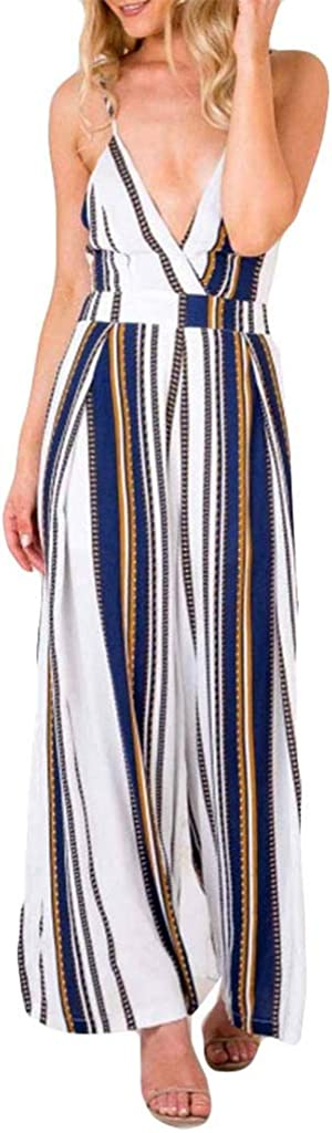 Forthery-Women Sexy Deep V Neck Spaghetti Strap Drawstring Waist Jumpsuit Wide Leg Pants Suit