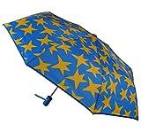 Agatha Ruiz de la Prada Paraguas Plegable automático para Adultos - Diseño de Estrellas Amarillas - Paraguas Compacto Resistente para Exteriores, Hombres y Mujeres