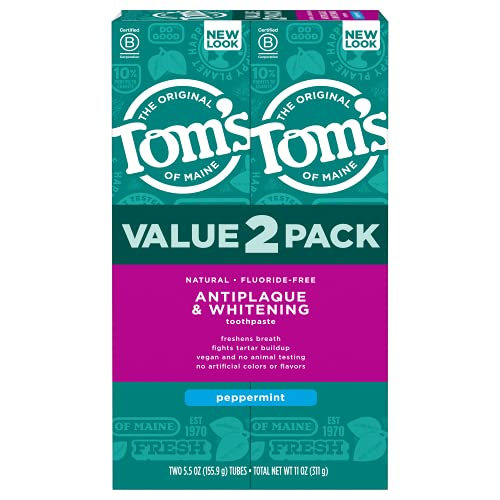 Tom's of Maine Fluoride-Free Antiplaque & Whitening Natural Toothpaste, Peppermint, 5.5 oz. 2-Pack...