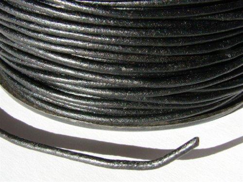 Lederband, Rund 2,0 mm. Schwarz*