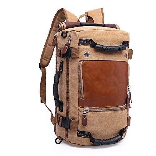 TENSKY 30L Sac à Dos du Style Vintage Multifonctionnel Portable Sac à Main l'ouveryure et Fermeture zippée en Cuir/Toile pour randonnée Voyage en Plein air