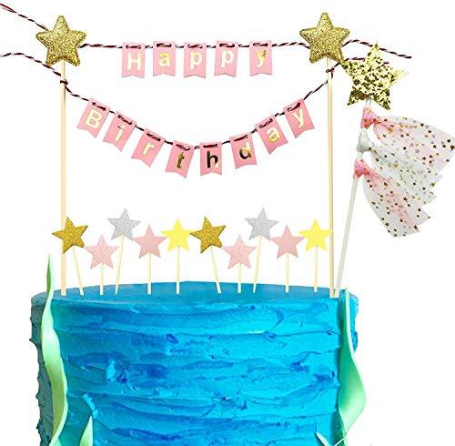 iZoeL Tortendeko Happy Birthday Girlande Geburtstag Wimpelkette + Glänzend Sterne Cake Topper (Rose)