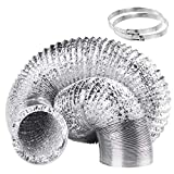 Duct Hose 5 Inch 16 Feet Non-Insulated Flexible Air Aluminum Foil Ducting Dryer Vent Hose with 2 Screw Stainless Steel Clamps Great for HVAC Duct, Air Duct
