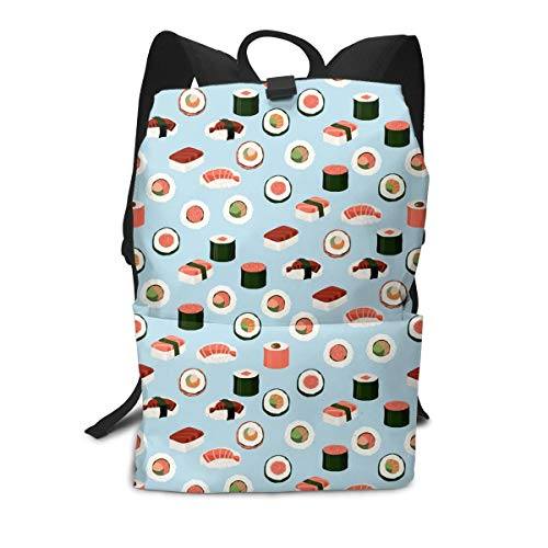 Liumong Best Cute Sushi Japanese Unagi Rice Roller Book Bag Holder Travel Back Backpack School Travel Hiking Small Mini Gym Teen Little Girls Youth Kid Women Men Printed Patterned Themed Bookbags