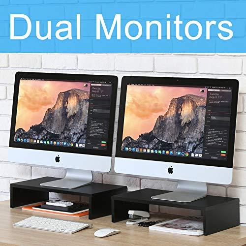 FITUEYES Monitorständer Bildschirmständer aus Holz für Monitor/Laptop/iMac/Fernsher schwarz DT104202WB