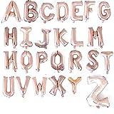 Hwjmy 40,6 cm de oro rosa, plata, azul, rosa, letras del alfabeto para niños, decoración de fiesta de cumpleaños, suministros de boda (tamaño del globo: 16 pulgadas, color: oro rosa)