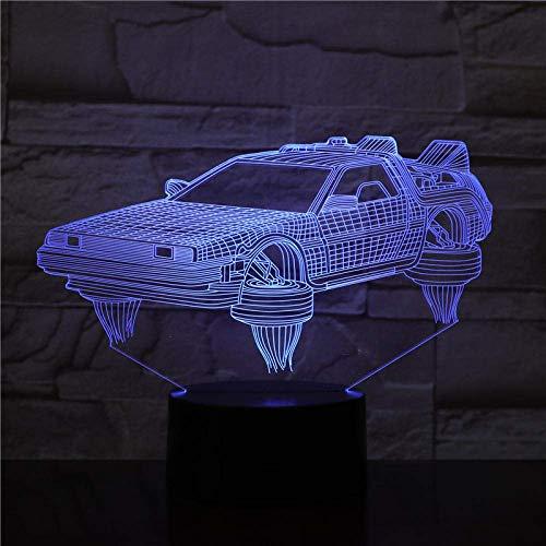 Lámpara de ilusión 3D, luz nocturna, regreso al futuro, coche bonito regalo para películas, funciona con pilas, lámpara de escritorio regalo para niños