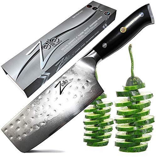 ZELITE INFINITY Nakiri Chef Knife 6 inch - Alpha-Royal Series - Best Quality Japanese AUS10 Super Steel 67 Layer Damascus - Razor Sharp, Hammered Tsuchime Finish, Superb Vegetable Prep Chefs Knives