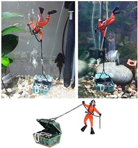 Creative Aquarium Ornament,Undersea Treasure Chest Diver Fish Tank Underwater Decor,Orange