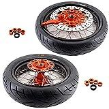 KKE KTM Size SX SX-F EXC EXC-W XC XCF EXC-F 125CC-530CC Wheels Rims Set 3.5/4.25x17in. Orange Hub Aluminum Black Rim CST Tire 110/150 For KTM All Model 125CC-530CC 2003-2020