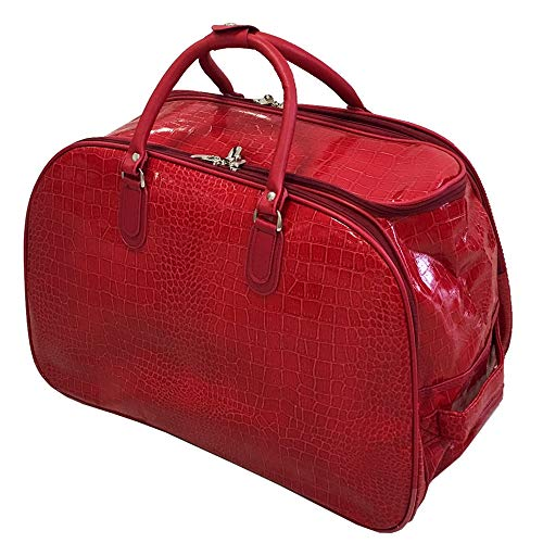 Craze London New Ladies Travel Holdall Bags Hand Luggage Womens Faux Leather Cabin Luggage Bag Design Weekend Wheeled Trolley Bags (Croc Design Red)