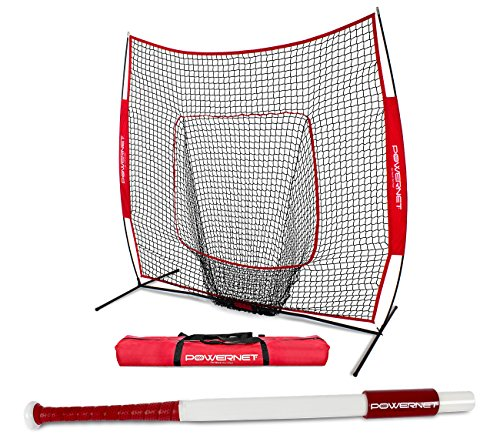 PowerNet Baseball Softball 7x7 Practice Net + Sweet Spot Bat Bundle (31
