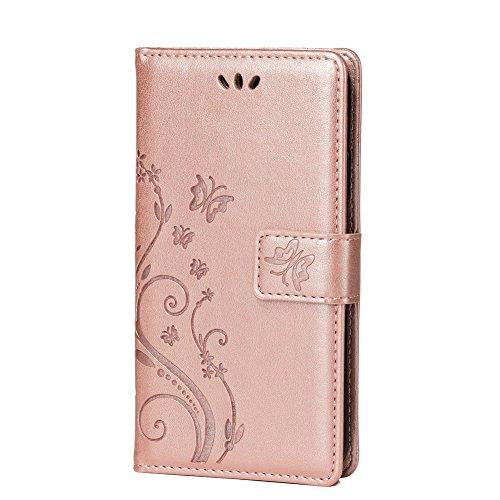 Teebo Hülle für Huawei Nova 3 Schutzhülle aus PU Leder Handyhülle mit geprägtem Schmetterling-Muster Kartenfach und Magnetverschluss Rose Gold - 2