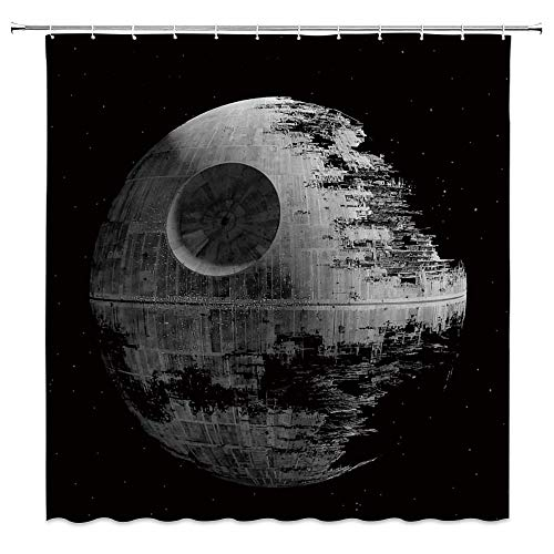 AdaCrazy Star Decoration War Duschvorhang Death Star Schwarz Grauer Stoff Badvorhang Mikrofaser Bad Duschvorhang Moderner Badvorhang 71x71 Zoll Enthält 12 Kunststoffhaken