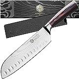 Kessaku 7-Inch Santoku Knife - Samurai Series - Forged High Carbon 7Cr17MoV Stainless Steel - Pakkawood Handle with Blade Guard