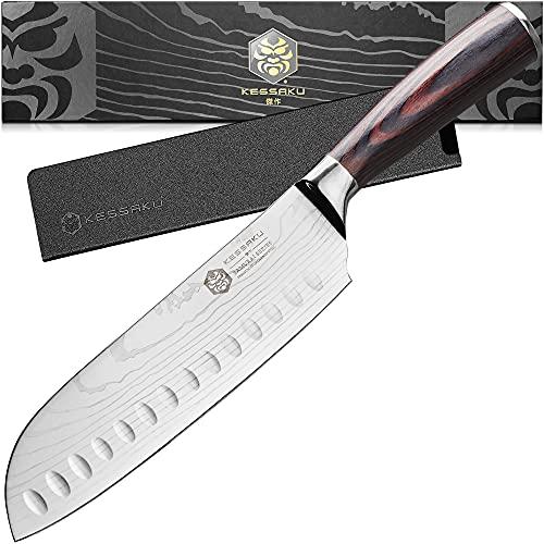 Kessaku 7-Inch Santoku Knife - Samurai Series - Forged High Carbon 7Cr17MoV Stainless Steel -...