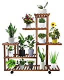 Plant Stand, ToteBox Wood Plant Stands Indoor Outdoor, Multi Tiered Wooden Plant Shelf, Corner Planter Display Rack Flower Pot Holder with Wheels for Living Room Patio Garden Balcony (11~13 Pots)