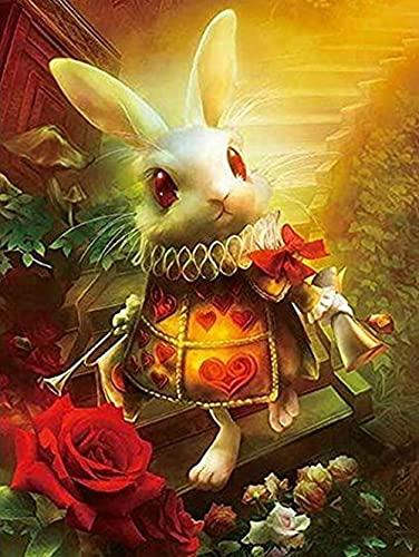 YRICHPG DIY 5D Alicia en el país de Las Maravillas Conejito Completo Diamante Pintura Kits de Punto de Cruz Arte Animal Pintura Bordado Mosaico Hecho a Mano decoración del hogar