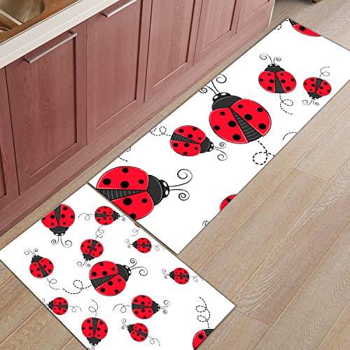 HLXX Red Ladybug Accesorios de Cocina Felpudo Tapete Felpudos Alfombra de baño Alfombrilla para habitación Alfombrillas para el hogar Alfombras para el hogar A1 40x60cm + 40x120cm
